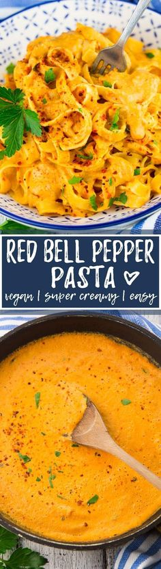 This vegan roasted red pepper pasta is one of my favorite vegan dinner recipes for busy days! You need only 20 minutes in total to make this vegan pasta and it\'s so incredibly creamy and delicious!! Find more vegan recipes at veganheaven.org