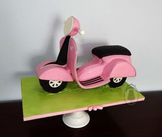 birthday party for one spunky gal was celebrated with Vespa cake and pink candles! The cake was pretty large, about 60 servings and was a trip to make :) Scooter Shop, Moped Scooter, Vespa Scooters, Vespa Cake, Apex Scooters, Gravity Defying Cake, 70th Birthday Parties, Sculpted Cakes, Pink Candles
