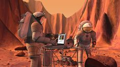 How soon before humans trek across the landscape of Mars? Artist's concept depicts crewmembers involved in sample analysis on Mars.