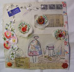 Post Cards from France Mixed Media Collage, Collage Art, Envelope Art, Fabric Journals, Baby Dolls, Sewing Appliques, Sewing Art, Textiles, Mail Art