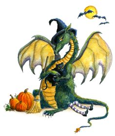 """""""Dragon art"""" """"Halloween Dragon"""" This Halloween dragon sits on the witch and has made a new friend with the black cat !"""