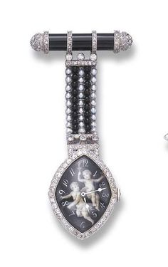 AN ART DECO ONYX, SEED PEARL AND DIAMOND LAPEL WATCH   With nickel-finished jeweled lever movement, the black dial of navette-shaped outline, with white Arabic chapters and hands, enhanced by a portrait miniature depicting two cherubs, within a circular-cut diamond surround, suspended by a five-row seed pearl and onyx bead panel, from an onyx bar link, accented by rose, single and old European-cut diamonds, mounted in platinum, circa 1920, with French assay mark