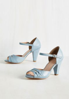 All-Singing, All-Prancing Heel in Sky. Buckle into these peep toes by Restricted and you'll feel so stylish you could croon about it! #blue #modcloth