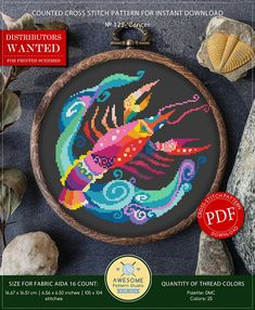 This is modern cross-stitch pattern of Cancer Zodiac for instant download. You will get 7-pages PDF file, which includes: - main picture for your reference; - colorful scheme for cross-stitch; - list of DMC thread colors (instruction and key section); - list of calculated thread