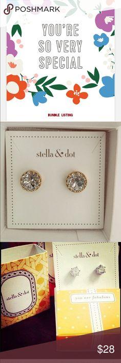 BUNDLE NIB Sparkle studs / NiB Nancy Studs Stella & Dot Jewelry