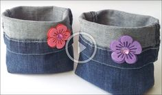 DIY Bags - recycled jeans diy craft crafts diy crafts do it yourself diy projects diy and crafts Birthday Gift Bags, Diy Birthday, Trash Bag, Car Trash, Recycled Denim, Recycled Clothing, Denim Bag, Cute Bags, Bag Storage