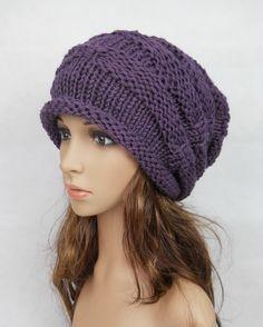 Slouchy woman handmade knitting hat clothing cap