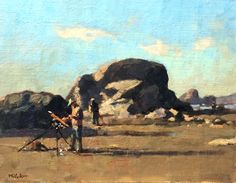 Jim McVicker, painting with friends at Moonstone Beach. 'Porter Paints Moonstone' 11x14