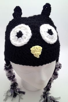 12 - 24 Month Baby hat - Crochet Black Owl Hat with Earflaps via Etsy Owl Hat, Crochet Baby Hats, Cute Owl, Baby Month By Month, Owls, Beanie, Super Cute, Trending Outfits, Unique Jewelry