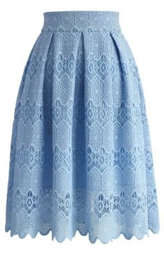 Sky Blue Lace Crochet Skirt - Bottoms - Retro, Indie and Unique Fashion