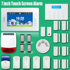321.10$  Watch more here  - 2016 Advanced LCD display touch screen panel 868mhz/ 433mhz GSM/ PSTN alarm systems security home with wireless solar siren