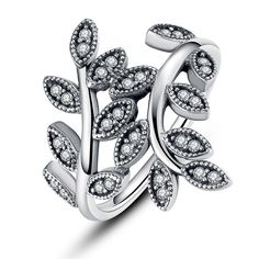 925 Sterling Silver Sparkling LEAVES SILVER RING WITH CUBIC ZIRCONIA for Women Original Jewelry // Price: $17.14 & FREE Shipping Worldwide //     #fashion #style #stylish #love #nails #hair #beauty #beautiful