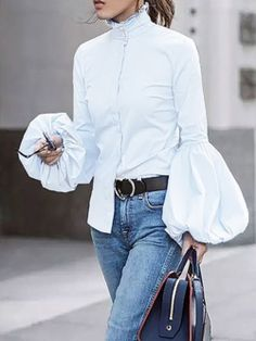 Fashion Women Blouses 2020 VONDA Female Long Lantern Sleeve Solid Tops And Blouses Casual Blusas Top Plus Size Womens Tunic Blusas Top, White Turtleneck, Turtleneck Outfit, Cotton Blouses, Chiffon Blouses, Lace Chiffon, Cotton Linen, Casual Tops, Casual Wear