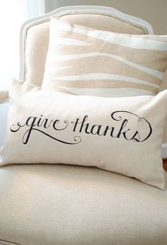 Image of Give Thanks 12x20 Pillow Cover in Black. @Melissa Braziell can you make two of these for my front porch. thanks :)