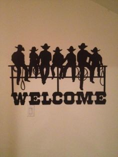WESTERN METAL ART cowboy rustic cabin lodge country ranch home wall decor welcome sign