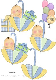 Step By Step Babies In Brollies (blue) - Use With My Baby Wobble Cards Christmas Sheets, Decoupage, 3d Templates, Baby Shower Clipart, 3d Sheets, Image 3d, Baby Clip Art, Paper Piecing Patterns, Baby Scrapbook