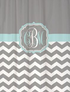 "Shower Curtain Solid Grey Chevron with Pale Blue Accents - 69x70"" - Custom Monogrammed Personalized"