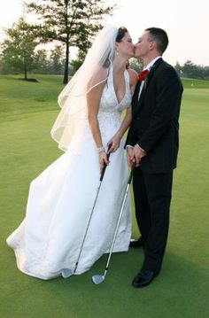 Wedding pose with a golf club