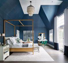 Hamptons Beach House Tour, blue grasscloth wallpaper
