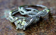 CUSTOM Made  Diamond Engagement Ring and Wedding by BeautifulPetra, $4800.00 Not that I'm in need of a ring, but WOW, that's gorgeous!