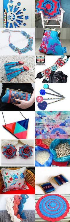 The Blues with Shades of Red by Karina Scott on Etsy--Pinned with TreasuryPin.com