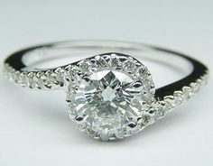 Engagement Ring - Round Diamond Swirl Engagement Ring in 14K White Gold 0.16 tcw. - ES345