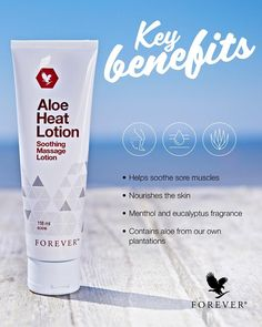 Product description Let your muscles experience the relaxing sensation of Aloe Heat Lotion after a tough workout or long day at work. Aloe-powered, ultra-rich and non-greasy, this creamy lotion is perfect for a deep, relaxing massage Aloe Vera Gel Forever, Forever Living Aloe Vera, Forever Aloe, Sore Muscles After Workout, Aloe Heat Lotion, Aloe Berry Nectar, Skincare For Combination Skin, Forever Living Business, Massage Lotion