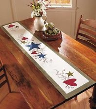 primitive table runners | Primitive Country Hearts & Stars Berries Table Runner Gingham Table ...