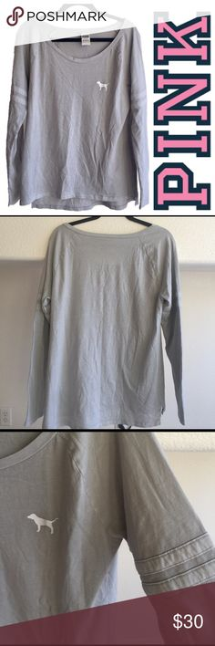 PINK Victoria's Secret Light Gray Longsleeve Tee PINK Victoria's Secret Tee in a light gray color. Has cute rugby stripes on arms and a white logo. Lightly used, no stains. PINK Victoria's Secret Tops Tees - Long Sleeve