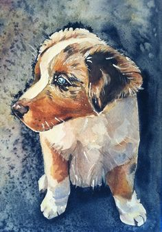Art watercolor painting of dog puppy by mariaswatercolor on Etsy, $65.00