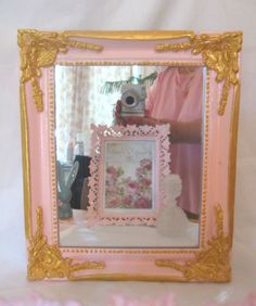Very Ornate Chic Pale Pink Wood Wall Mirror HP Gold Gilt Paris Cottage Shabby Chippy Distressed Vintage Victorian