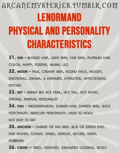 Lenormand Physical and Personality Characteristics
