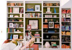 painted bookshelves in family room.but color a little lighter. Painted Bookshelves, Built In Bookcase, White Bookshelves, Barrister Bookcase, Bookshelf Organization, Bookshelf Ideas, Bookshelf Wall, Bedroom Bookshelf, Black Bookshelf