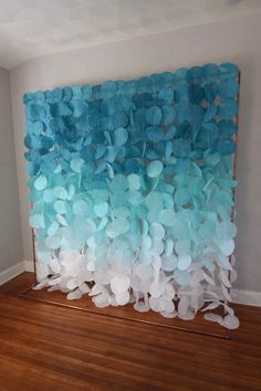 Tissue Paper Flowers Discover The Original Paper Circle Garland: Teal and Sea Foam Ombre Deco Baby Shower, Baby Boy Shower, Under The Sea Decorations, Circle Garland, Creation Deco, Under The Sea Party, Backdrop Stand, Mermaid Birthday, Birthday Party Decorations
