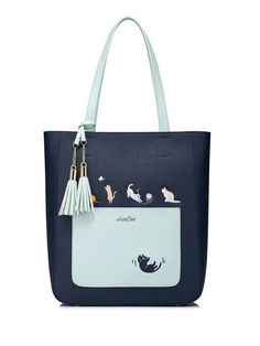 Shop Totes - Navy Blue Large PU Sweet Tote online. Discover unique  designers fashion at StyleWe.com. 840c47c33d4d9