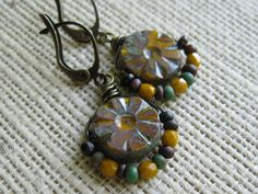 Antiqued Brass Sunflower Czech Glass by valleybeadglassart on Etsy, $10.00
