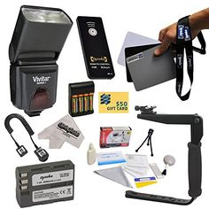 Dedicated ETTL Speed Light Flash Kit for The Nikon D700 D300S D300 D200 D100 D90 D80 D70 D70s  D50 Digital SLR Cameras Includes Vivitar DF293 TTL LCD Bounce Zoom Flash With LCD Display  Balance Reference Grey Card Set  Rotating Flash Bracket With Grip  Extended Life Battery for the Nikon ENEL3E 2000MAH  1 Hour ACDC Battery Charger  AA Rechargable Batteries  Charger  Wireless Shutter Release Remote Control Photo Print *** Continue to the product at the image link.