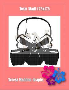 Name: 'Crocheting : Toxic Skull Plastic Canvas, Handmade Crafts, Crocheting, Cross Stitch, Skull, Tote Bag, Knitting, Pattern, Crochet