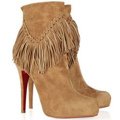 aa10547c175 Fascinating Christian Louboutin Rom 120 Fringed Suede Ankle Boots For Cheap  Clearance Sale Discount