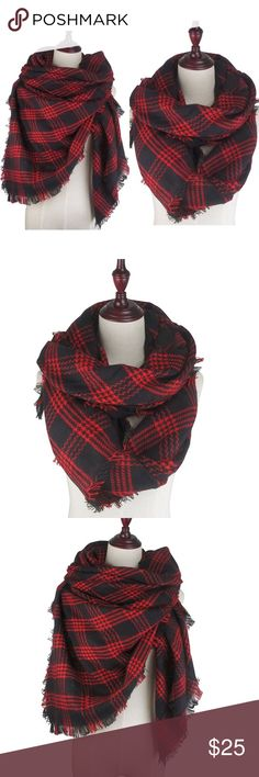 """Blanket Scarf Fringe Wrap Plaid Shawl + Brand new in packaging ♥️🖤 + 55"""" x 55"""" with fringe edges + Can be folded & worn in many ways, worn as a poncho and/or used as a blanket  + Material is a soft acrylic that feels like faux cashmere + Perfect gift for any occasion 📦 Accessories Scarves & Wraps"""