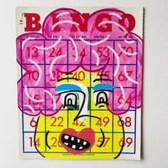 Pink Hair Don't Care - Bingo Card Art #pinkhair #weirdart #vintagebingo