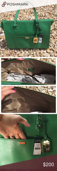 "Ralph Lauren Lowell satchel in chic fern green  Same day shipping (excluding Sun/holidays or orders placed after P.O. Closed)  10% off of 2+ bundles  ❓Please ask any questions prior to buying. I want you to be % Happy❣  This gorgeous roomy bag features top zipper closure, one outside pocket, one inside large zipper pocket and two smaller inside pockets. The golden lining inside this bag is printed ""Ralph Lauren"" in a pattern. Bag height: 10"" Length: 12.5"" bottom width: 6"" Strap drop: 9""…"