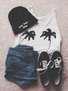 Outfit. Shorts. Top. Beanie. Shoes.