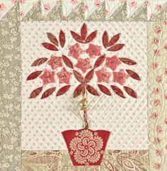 Bunny Hill Designs with French General. Applique block, floral tree in vase