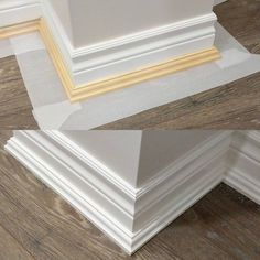 """Heres a quick #toolaholictip for you guys  Occasionally we install flooring after trim, so in this case we use a shoe molding or Colonial quarter round/panel moulding to cover the expansion gap for laminate and engineered flooring.  Instead of trying to mask against the floor which almost always results in paint wicking under the tape, I cut up rolls of wax or baking paper to 3"""" and lay them down as I install trim. I made a jig to cut these rolls safely on a miter saw.  Once you finish…"""