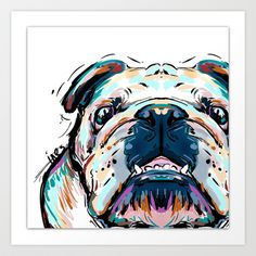 Bull dog close  up Art Print by Cartoon Your Memories - $22.88