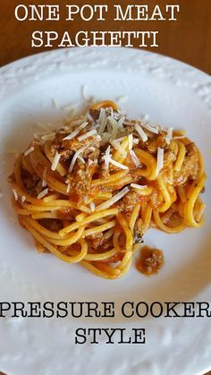 Pressure Cooker One Pot Meat Spaghetti. Learn how to boost the flavor of your sauce. No more watery sauce or stuck on pasta in your pressure cooker!