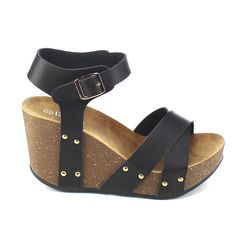 Amazon.com | Refresh Mara-05 Womens Ankle Strap Comfort Criss Cross Platform Wedge Sandals | Sandals