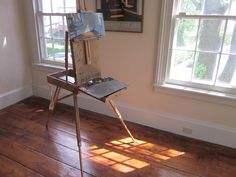 Edward Hopper's Nyack bedroom, summer 2012. This is Philip Koch's easel with an oil in progress.