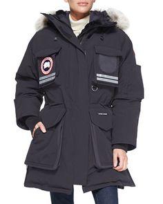 CANADA GOOSE SNOW MANTRA FUR-HOOD COAT, NAVY. #canadagoose #cloth #